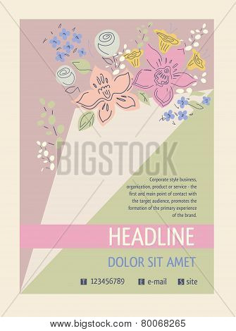 Flyer with a bouquet of flowers, ajar page. Cover for the catalog of flowers, aromatherapy