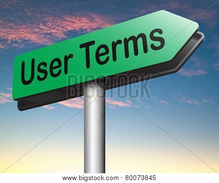 Terms of use or user terms and agreement  poster
