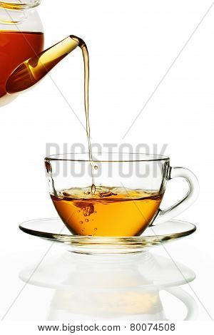 Tea pouring into cup