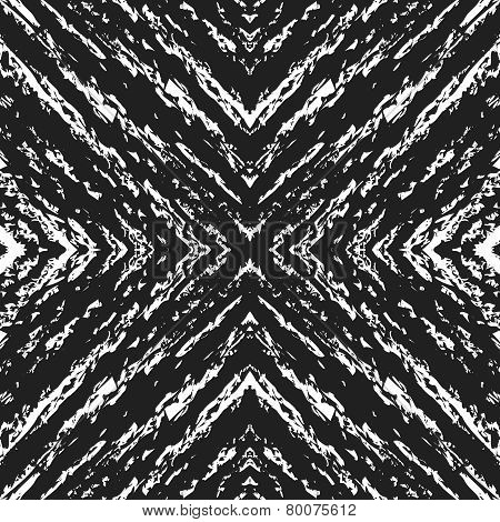 Abstract Seamless Pattern. Grunge White Sketches Over Black Background.