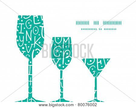 Vector white on green alphabet letters three wine glasses silhouettes pattern frame