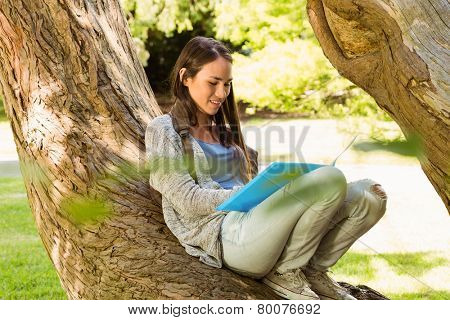 Smiling student sitting on trunk and reading book in park at school
