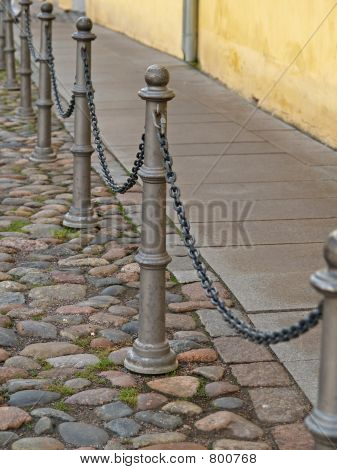 Chain fence in a street