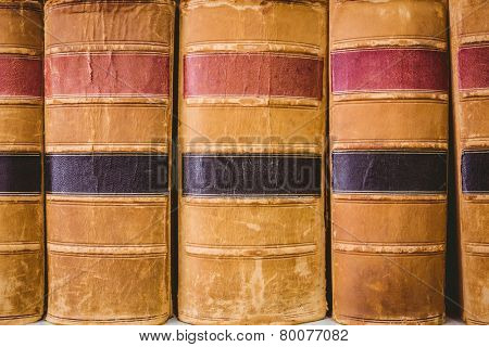 Close up of old books in library