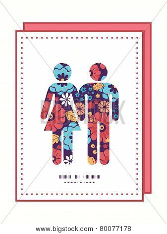 Vector colorful bouquet flowers couple in love silhouettes frame pattern invitation greeting card te