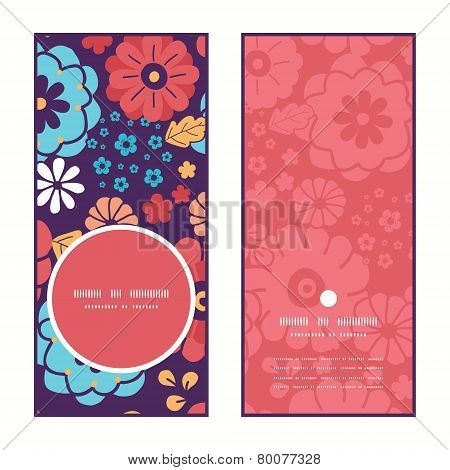Vector colorful bouquet flowers vertical round frame pattern invitation greeting cards set