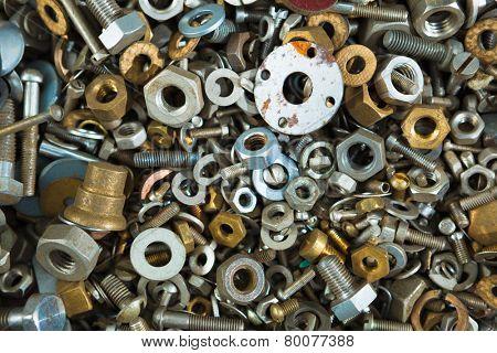 iron screw nuts background