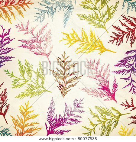 Seamless pattern with decorative branches on old paper