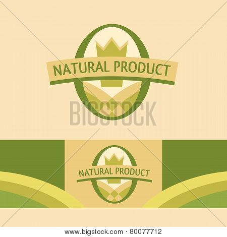 Vector logo with a picture of the field, the corona. Premium products of agriculture