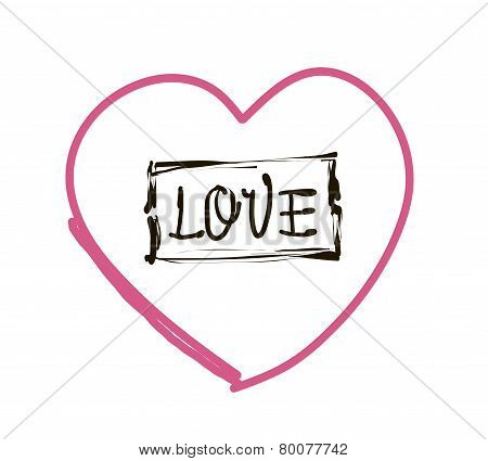 Romantic  Inscription Love On The Background Of Stylized Heart. Vector Illustration. Great For Valen