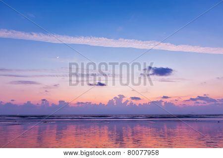 Sunset on Baga beach. Goa, India