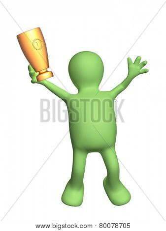 Jumping puppet with cup. Isolated on white background