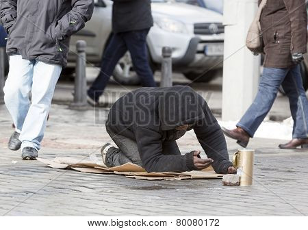 Homeless Begger Begging