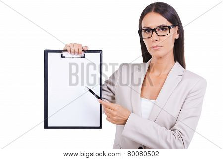 Copy Space On Her Clipboard.
