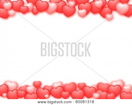 Valentine's Day background with red hearts and white copy space