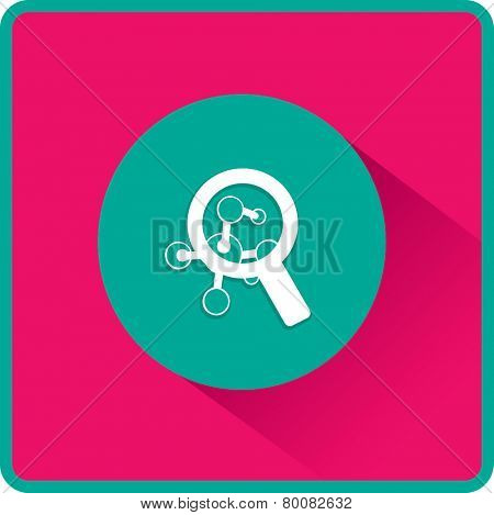 Magnifying glass and molecula. Flat  icon.  Vector illustration