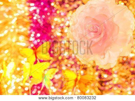Decoration Flower On Background Bokeh Close-up