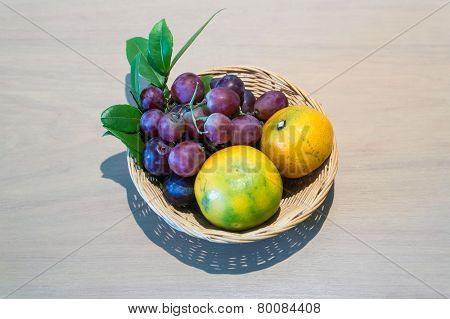 Wicker Baskets Of Fruit On The Table.