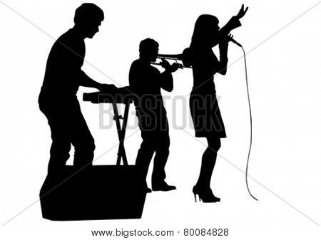 Beautiful women whit microphon on white background