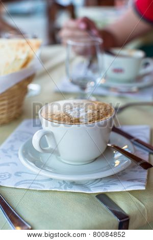 Delicious and tasty cappuccino for breakfast at cafe