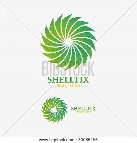 Vector logo design element. Abstract, sink, shell