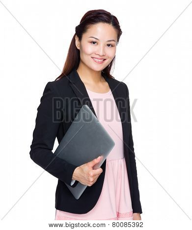 Asian Businesswoman hold with laptop