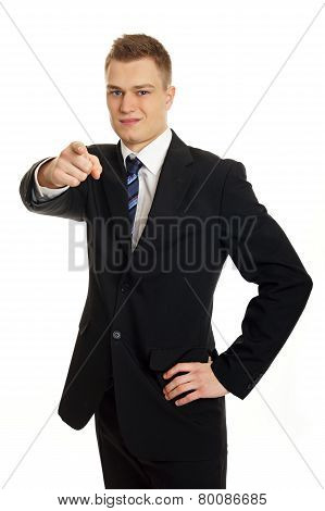Businessman shows on you
