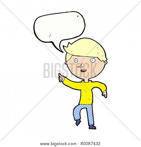 cartoon happy pointing with speech bubble