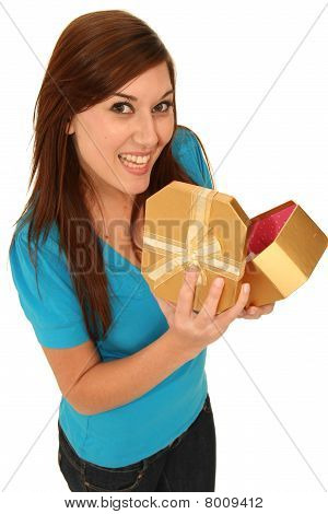 Pretty Brunette Girl With Gift Box