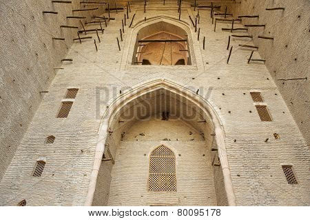 Unfinished exterior of the beautiful medieval mausoleum of the famous 12th century poet and sufi Khoja Ahmed Yasavi in Turkistan, Kazakhstan. UNESCO World Heritage site. poster