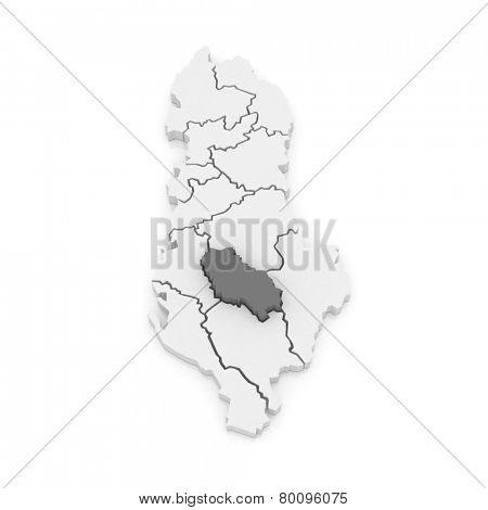 Map of Berat. Albania. 3d poster