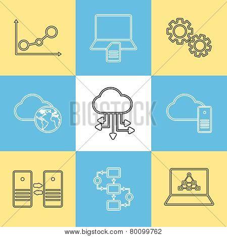 Data storage, data analysis and transfer icons