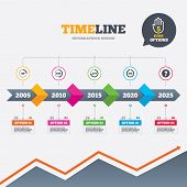 Timeline infographic with arrows. Angle 45-360 degrees circle icons. Geometry math signs symbols. Full complete rotation arrow. Five options with hand. Growth chart. Vector poster