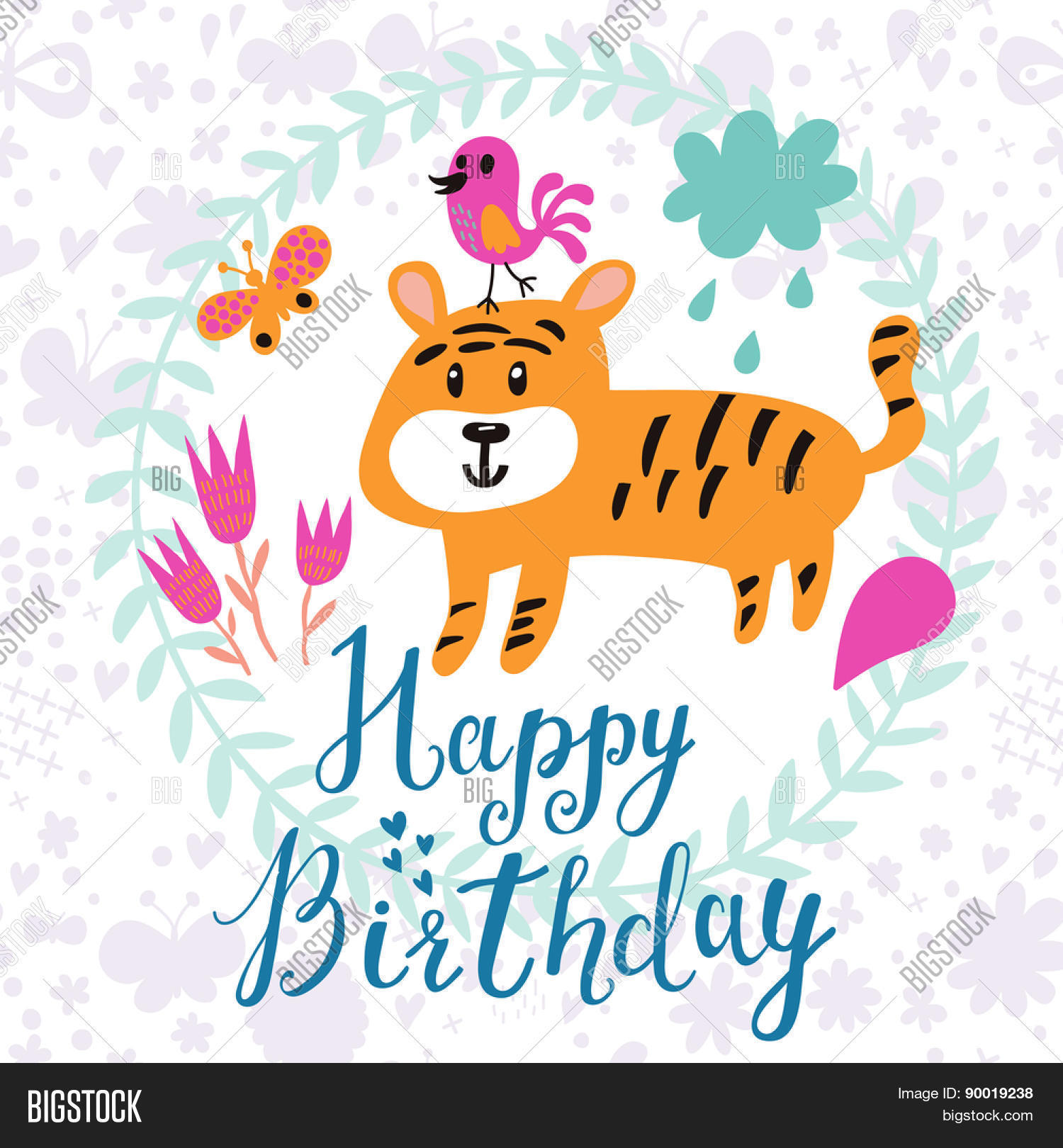 Sweet childish card vector photo free trial bigstock sweet childish card with lovely tiger bird and butterfly in vector happy birthday invitation stopboris Images