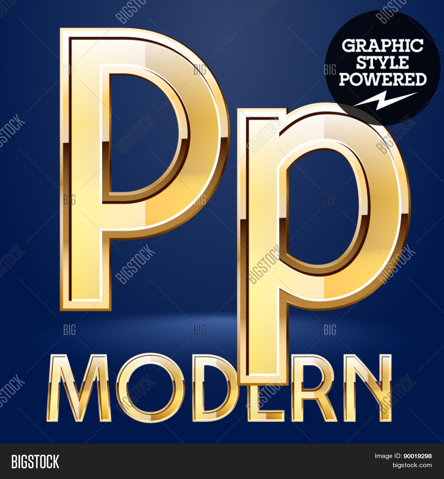 Vector set of modern golden glossy font. Letter P