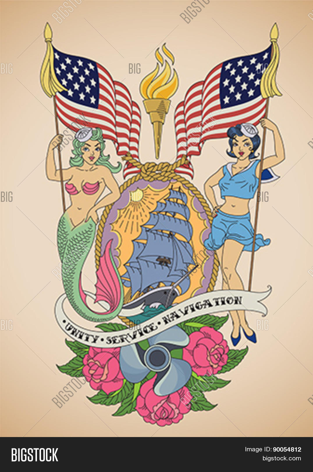 5cc4d830d Old-school US Navy tattoo of a sensual pin-up sailor and a mermaid
