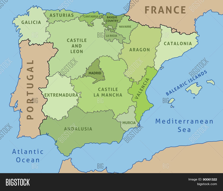 Big Map Of Spain.Map Spain Vector Photo Free Trial Bigstock