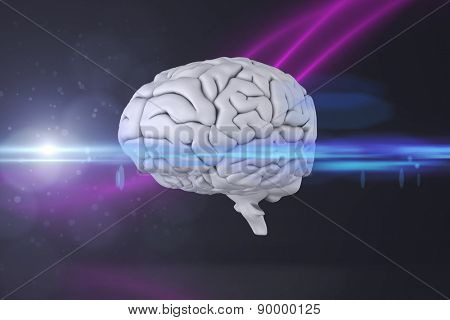brain against purple wave