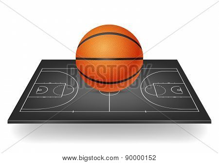 Basketball On A Black Court.