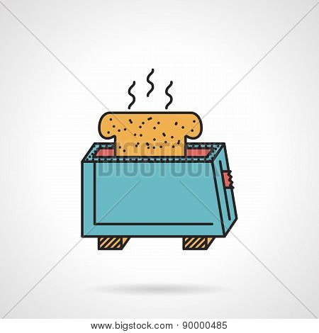 Toaster with bread flat vector icon