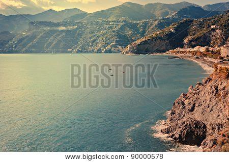 Top View Of A Beach On The Amalfi Coast