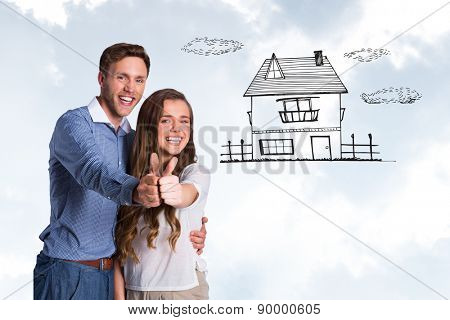 Happy couple gesturing thumbs up against blue sky