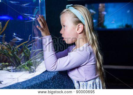Young woman looking at fish in tank at the aquarium