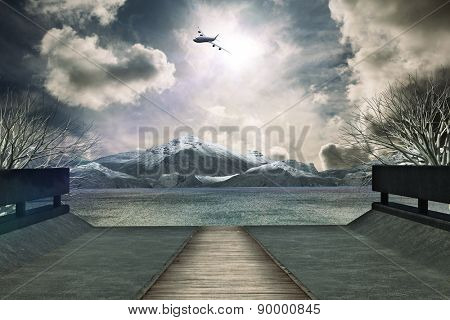 Graphic airplane against scenic backdrop