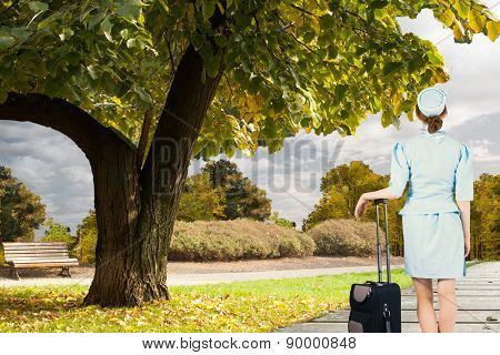 Pretty air hostess leaning on suitcase against scenic backdrop