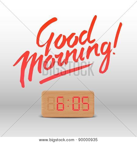 Good Morning. Workspace mock up with wooden digital alarm clock