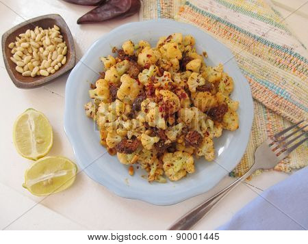 Cauliflower With Sausages.