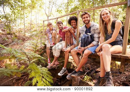 Group Of Friends On Walk Sitting On Wooden Bridge In Forest