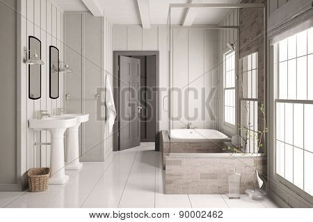 Modern bright bath with bathtub and shower and two sinks (3D Rendering)