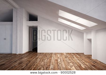 Empty appartment in the attic with fir wood hardwood (3D Rendering)